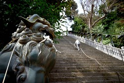 tokyo, japan - march 9 2021: Bronze statue of a Japanese Komainu lion protecting the worshipers carefully climbing the steep stairs of success of the Shintoist Atago shrine on the Mt.Atago.