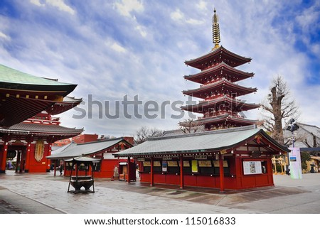 TOKYO, JAPAN - MARCH 30: Sensoji Temple in Tokyo, Japan on March 30, 2012. It is the oldest temple in Tokyo and it is one of the most significant Buddhist temples located in Asakusa area.