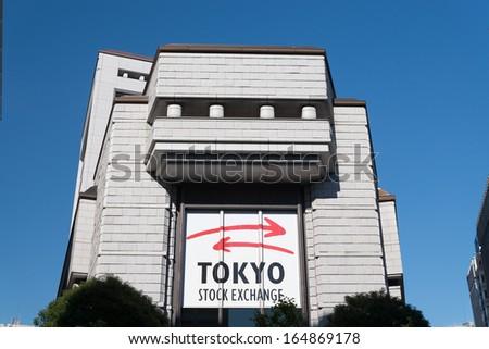 TOKYO, JAPAN - NOVEMBER. 20 : Tokyo Stock Exchange Building against clear blue sky on November 20, 2013 in Chuo Ward, Tokyo, Japan.