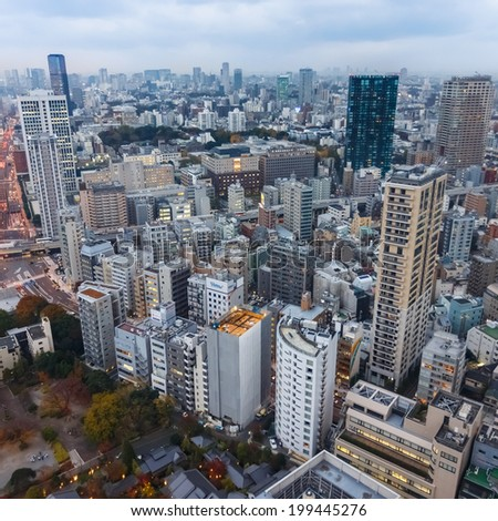 TOKYO, JAPAN - NOVEMBER 25: View from Tokyo Tower in Tokyo, Japan on November 25, 2013. Tokyo is the capital of Japan and the most populous metropolitan area in the world