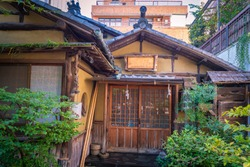 Tokyo. Japan. Old japanese hut. Traditional japanese house. Tokyo residents house. Architecture. Japanese buildings in the old style. Walking in Tokyo. Vacations in Japan. Japan vintage.
