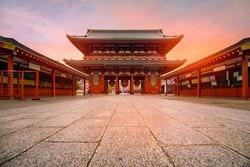 Tokyo, Japan - Sensoji-ji Temple in Asakusa in the morning.