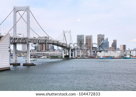 Tokyo, Japan - view of Rainbow Bridge from famous Odaiba island