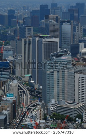 TOKYO - JUNE 2, 2010: A panoramic view over Roppongi ichome in Tokyo. Tokyo is the most populous metropolitan area in the world with more than 35 million people.