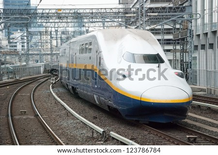 TOKYO - JUNE 2, 2012: Shinkansen bullet train at Tokyo station in June 2, 2012 Tokyo,Japan.Shinkansen is world's busiest high-speed railway operated by four Japan Railways group companies