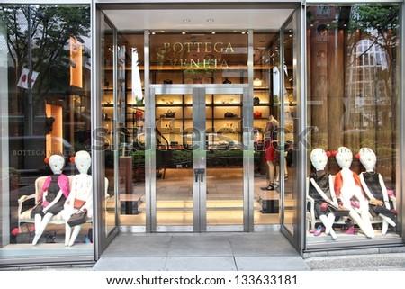 TOKYO - MAY 9: Bottega Veneta store on May 9, 2012 in Omotesando, Tokyo. Bottega Veneta is a luxury leather goods brand owned by Gucci. BV had 875 million EUR revenue in 2008.