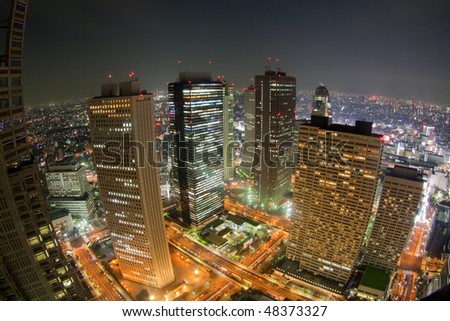 tokyo night view from building(fisheye lens)