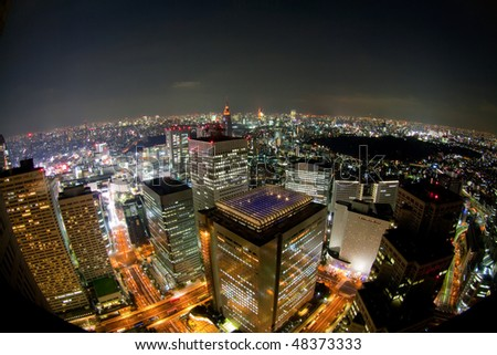 tokyo night view from building(fisheye lens)