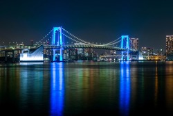 Tokyo,Rainbow Bridge glowing blue, Illumination of thanks to medical staff