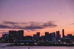 Tokyo skyline and Sumida river at sunset, Japan
