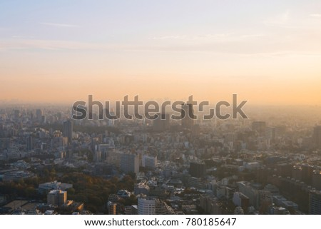 Tokyo skyline under the sunset glow. #780185647