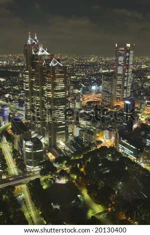 Tokyo skyscrapers at night - stock photo