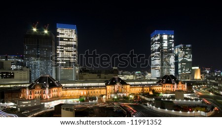 Tokyo station by night from above