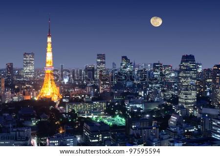 Tokyo Tower in Minato Ward, Tokyo, Japan - stock photo