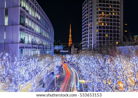 Tokyo Tower is seen from Roppongi during the Christmas illuminations.