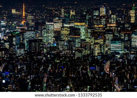 Tokyo Tower with skyline cityscape in Tokyo, Japan at night #1333792535