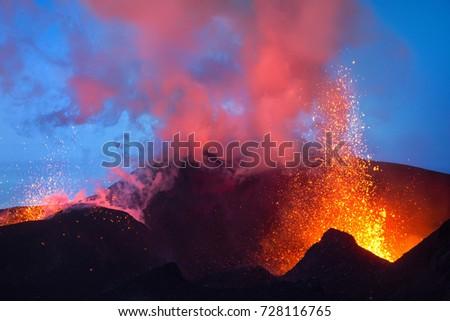 Tolbachik volcano eruption at sunset, Kamchatka