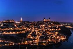 Toledo city at night, Toledo, Spain.