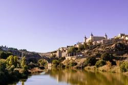 Toledo city, Panoramic of historic buildings with blue sky. Castilla la Mancha. Spain