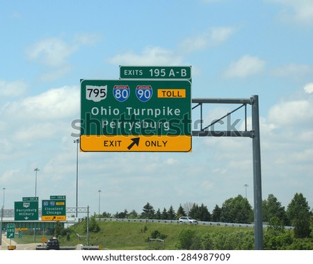 TOLEDO, OH - JUNE 2:  The Commission that oversees the Ohio Turnpike, whose entrance sign is shown on  June 2, 2015, has been sued over payment of infrastructure projects with collected tolls.