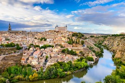 Toledo, Spain old town city skyline.