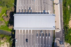 Toll road turnpike payment collection section, Aerial view.