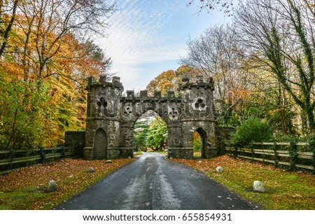 Tollymore Park Gate, Autumn park, Belfast, Northern Ireland, United Kingdom