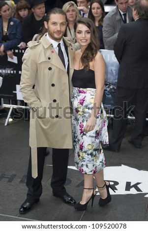 "Tom Hardy and Charlotte Riley arriving for European premiere of ""The Dark Knight Rises"" at the Odeon Leicester Square, London. 18/07/2012 Picture by: Simon Burchell / Featureflash"