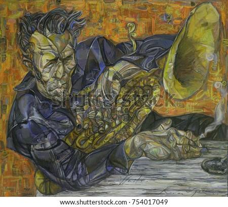 Tom Waits, classical jazz,  famous musicians, celebrities Jazz , oil painting, artist Roman Nogin, series