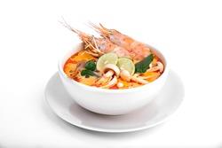 Tom Yum Goong on white background,Thai Food