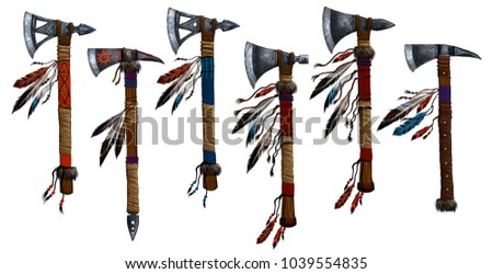 Tomahawk set collection. Military weapons the Indians of North America.Native American ax.Weapon decorated with feathers of wild birds, precious stones, beads, cloth and leather straps stock photo