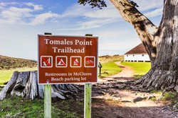 Tomales Point Trailhead signage in Point Reyes National Seashore, Pacific Ocean coastline, California