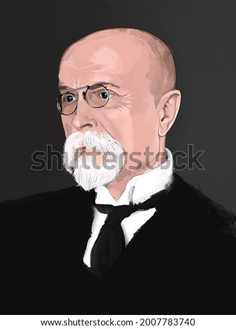 Tomas Garrigue Masaryk 1850-1937 , founder and first president of Czechoslovakia from 1918-1935., illustration Foto d'archivio ©