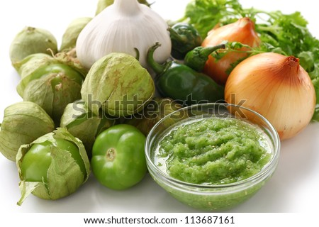 tomatillo salsa verde ingredients, mexican cuisine - stock photo