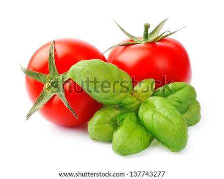 Tomato and basil leaves isolated