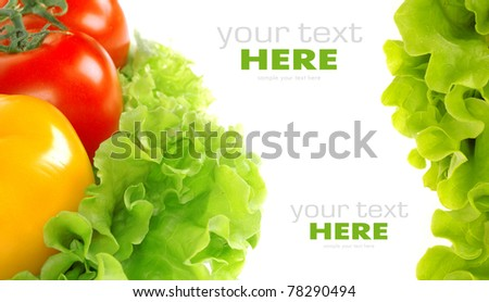 Tomato and salad leaf isolated on white background