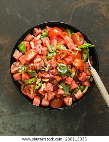 Tomato and Watermelon Salad. Shallow Depth of Field.