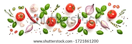 Tomato, basil spices, chili pepper, onion, garlic pattern. Creative cherry tomato background isolated on white. Fresh basil, tomatoes banner, cooking concept, fashion wallpaper