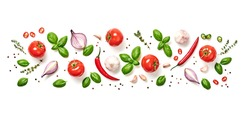 Tomato, basil, spices, chili pepper, onion, garlic. Vegan diet food, creative composition isolated on white. Fresh basil, herb, tomatoes pattern layout, cooking concept, top view.