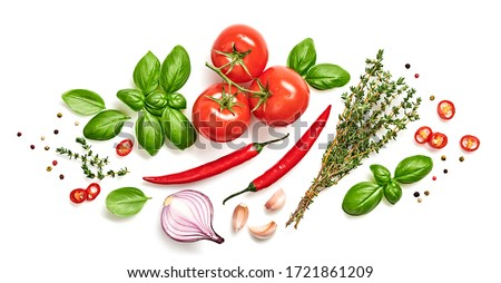 Tomato, basil, spices, chili pepper, onion, thyme. Vegan diet food, creative composition isolated on white. Fresh basil, herb, tomatoes, cooking concept, top view.