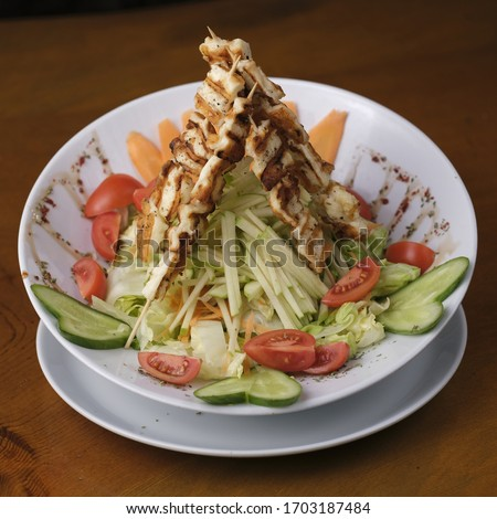 tomato carrot and apple chicken salads Stok fotoğraf ©