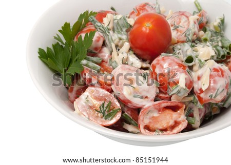 Tomato, cheese and dill, seasoned mayonnaise.