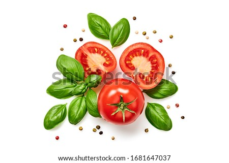 Tomato cherry, basil, spices, pepper. Fresh organic tomatoes, isolated on white. Vegan veggies diet food. Basil, herb and cherry tomatoes, cooking concept, top view.