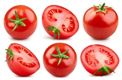 Tomato Collection Clipping Path. Cherry tomato isolated on white background. Professional studio macro shooting. Tomato close up shot