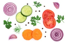 tomato, cucumber and carrot slice with parsley leaves, dill, onion, garlic isolated on white background. Top view
