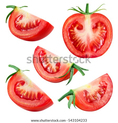 Tomato. Fresh vegetable isolated on white. Whole, half, slice, piece, quarter, section, segment. Collection. #543104233