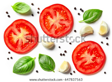 tomato, garlic and basil isolated on white background, top view
