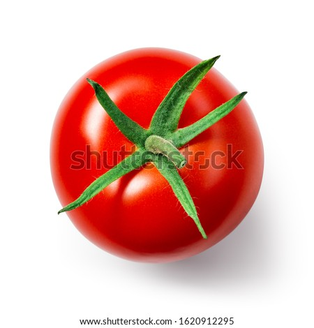 Tomato isolate. Tomato on white background. Tomato top view. With clipping path.