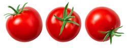 Tomato isolate. Tomato on white background. Tomatoes top view, side view. With clipping path.