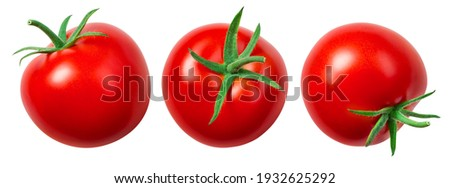 Tomato isolate. Tomato on white background. Tomatoes top view, side view. With clipping path. ストックフォト ©